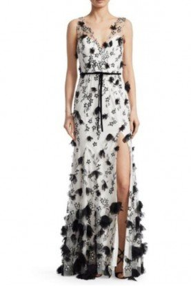 Marchesa Notte Sleeveless 3D Flower Embroidered White Black Gown