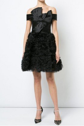 Marchesa Notte Black Off Shoulder A Line Mikado Cocktail Dress