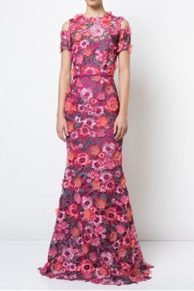 Marchesa Notte Berry Pink Short Sleeve Floral Guipure Lace Gown