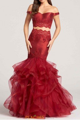 ellie wilde Red Two Piece Lace Mermaid Mikado Dress Gown