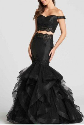 ellie wilde Long Tulle Mermaid Dress with Lace Detail Mikado