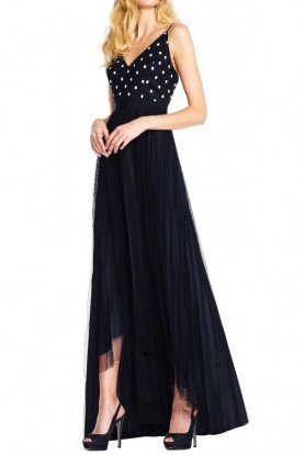 Adrianna Papell Tulle navy high low dress polka dot lace bodice