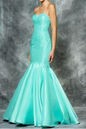 Colors Dress Strapless Mikado Mermaid Gown  Aqua 1647