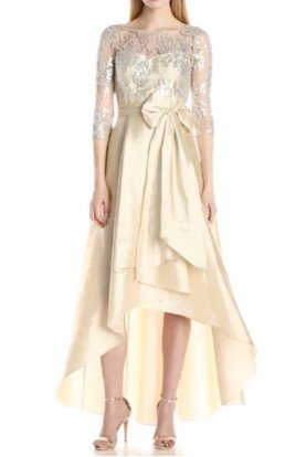 Adrianna Papell Sequin Illusion High Low Gown Taffeta Dress