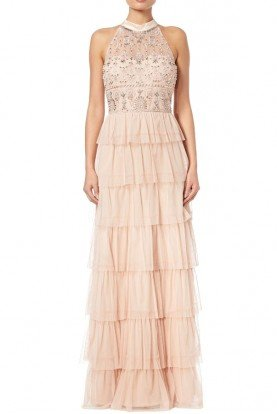 Adrianna Papell Beaded Tiered Skirt Gown Blush Tulle