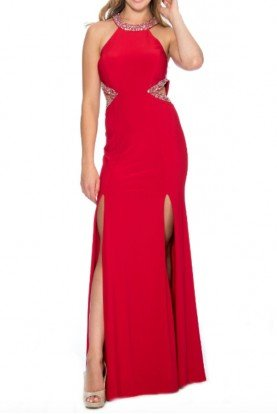 Decode 18 Cut out Beaded double slit Red Jersey Gown