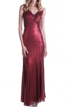 Bari Jay 1729 Ruby Red Sequin Shimmering Gown
