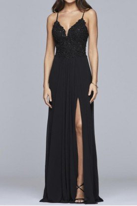 10005 Black Graceful Chiffon Gown Evening Dress