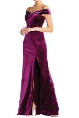 Aidan Mattox Plum Off the Shoulder Evening Gown with Slit