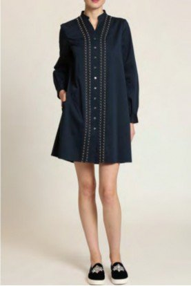 Navy Blue Long Sleeve Shirt Dress Tunic