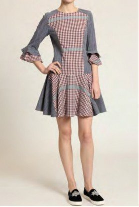 Navy Multi Quarter Sleeve Day Fit and Flare Dress