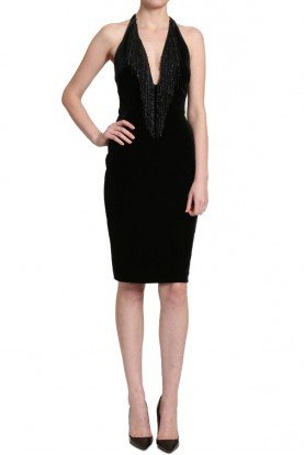 Badgley Mischka Black Sleeveless Velvet Cocktail Dress