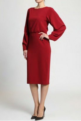 Ruby Red Long Sleeve Blouson Day Dress