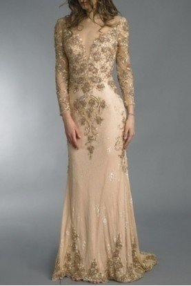 Champagne Gold Applique Long Sleeve Evening Gown