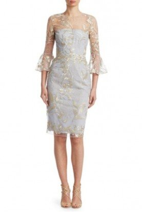 David Meister Platinum Silver Lace Bell Sleeve Cocktail Dress