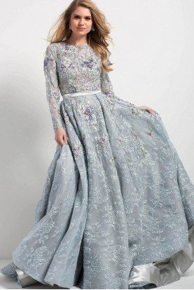 Jovani Pastel Blue Floral Long Sleeve Embroidered Gown