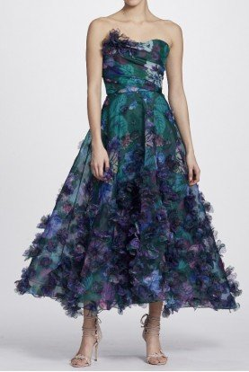 Emerald Strapless 3D Floral Embroidered Midi Dress