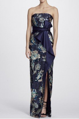 Navy Blue Strapless Sequined Peony Evening Gown