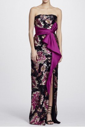 Marchesa Notte Black Pink Strapless Sequined Peony Evening Gown