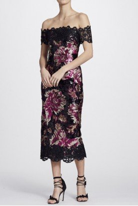 Black Off Shoulder Sequined Peony Midi Tea Dress