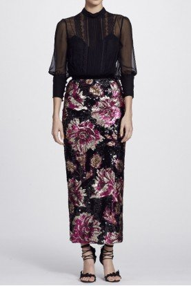 Marchesa Notte Quarter Sleeve Blouse and Sequined Peony Skirt