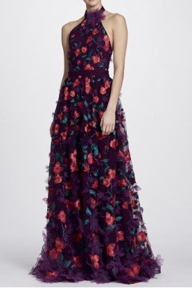 Marchesa Notte Wine 3D Floral Halter Neck A Line Evening Gown