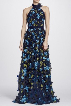 Marchesa Notte Blue 3D Floral Halter Neck Evening Gown