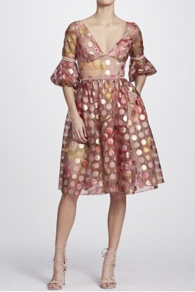 Marchesa Notte Blush Gold Polka Dot Fit and Flare Cocktail Dress