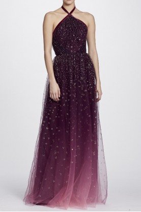 Marchesa Notte Wine Red Ombre Glitter Tulle Halter Gown Dress