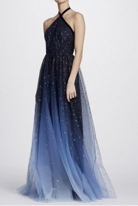Marchesa Notte Blue Ombre Glitter Tulle Halter Gown Evening Dress