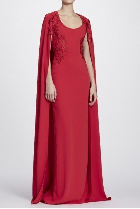 Red Sequin Embroidered Cape Gown Evening Dress