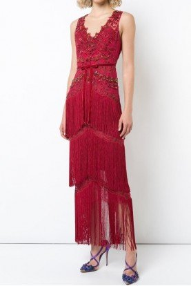 Marchesa Notte Sleeveless Beaded Fringe Evening Gown