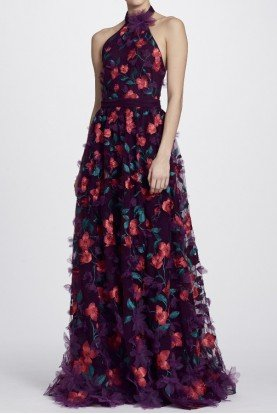 Marchesa Notte Wine Color 3D Floral Halter Neck Evening Gown