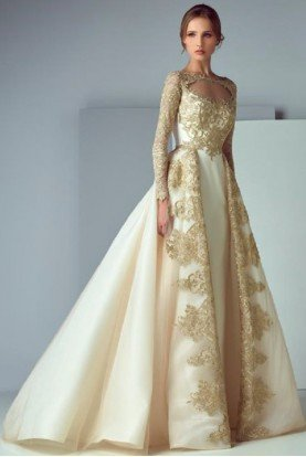 SK by Saiid Kobeisy Long Sleeve Off White Bridal Ball Gown