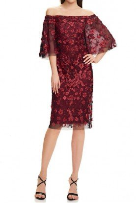 Garnet Red Floral Off the Shoulder Cocktail Dress