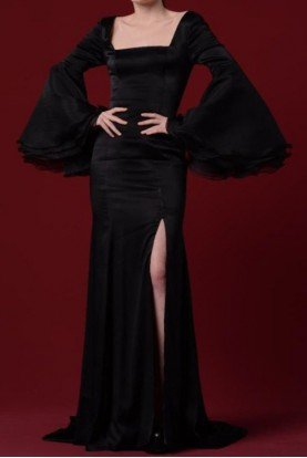John Paul Ataker Black Long Sleeve Satin Gown