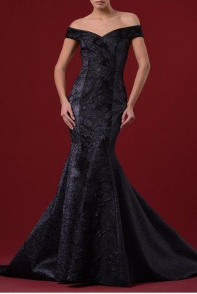 John Paul Ataker Black Off the Shoulder Jacquard Gown