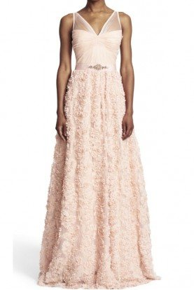 Adrianna Papell Blush Ball Gown Petal Prom V neck Wedding