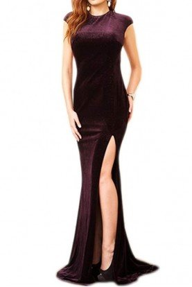 Jovani 78302 PLUM VELVET OPEN BACK EVENING GOWN