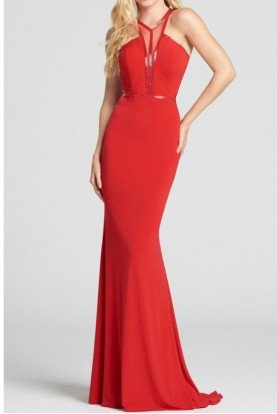 ellie wilde Red Open Back Illusion Beaded Prom  Jersey Gown