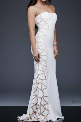 Jovani Ivory White Long Strapless Contemporary Dress Gown