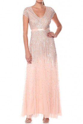 Adrianna Papell Cap Sleeve dress with waistband blush beaded gown