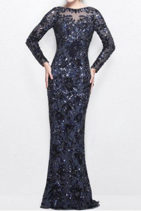 1401 Midnight Blue Long Sleeve Sequin Beaded Gown