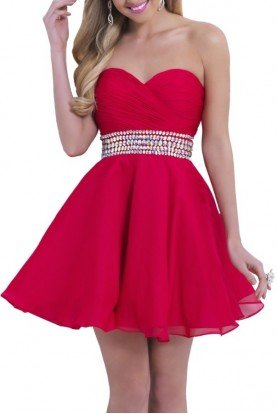 9861 Red Strapless Homecoming Party Dress