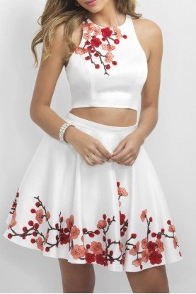 White Floral Two Piece Homecoming Party Dress