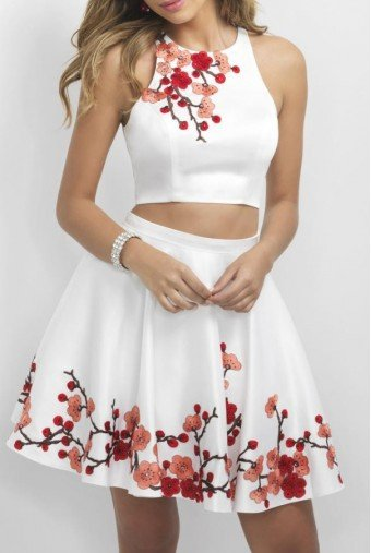Blush Prom White Floral Two Piece Homecoming Party Dress