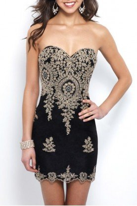 C404 Black Gold Strapless Applique Cocktail Dress