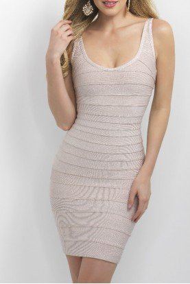 Shimmer Pastel Pink Bandage Cocktail Dress C369