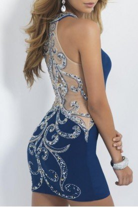 Blue Jeweled Beaded Illusion Short Cocktail Dress