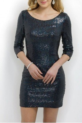 Long Sleeve Navy Blue Sequin Mini Cocktail Dress
